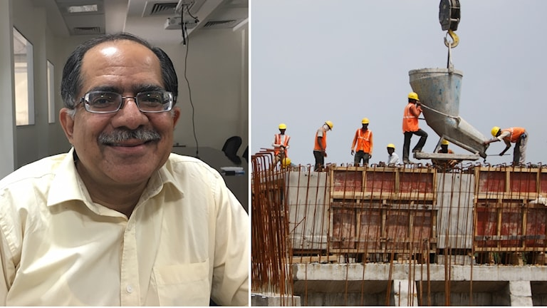 Sharad Sharma och bild på byggnadsställning.
