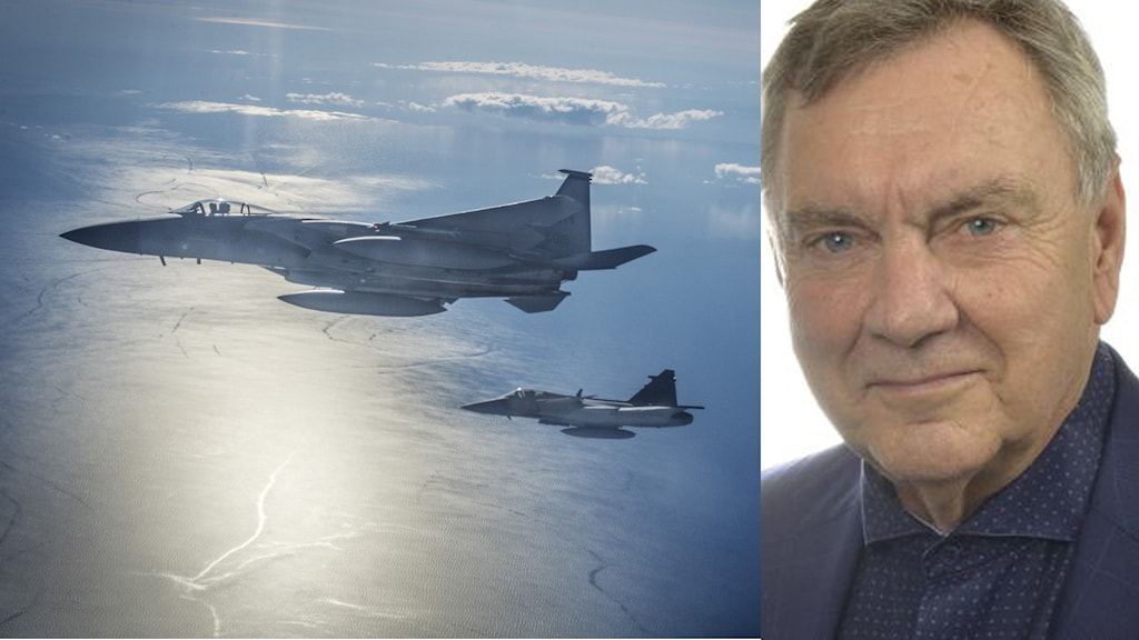 Montage med stridsflygplan och SD:s försvarspolitiske talesperson Roger Richthoff