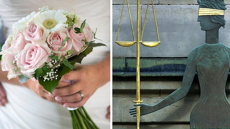 Äktenskap och justitia (symboldbild). Foto: Fredrik Sandberg/Claudio Bresciani/TT. Montage: Sveriges Radio.