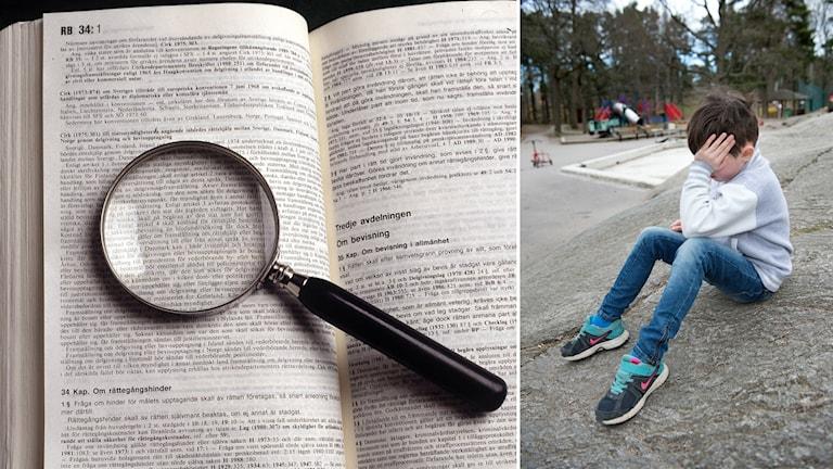 Delad bild: Uppslagen lagbok med förstoringsglas, ledsen pojke som sitter vid en lekpark.