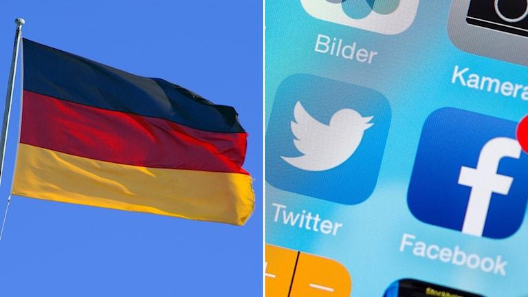 Tysklands flagga och en bild på sociala medier-appar på en telefon.