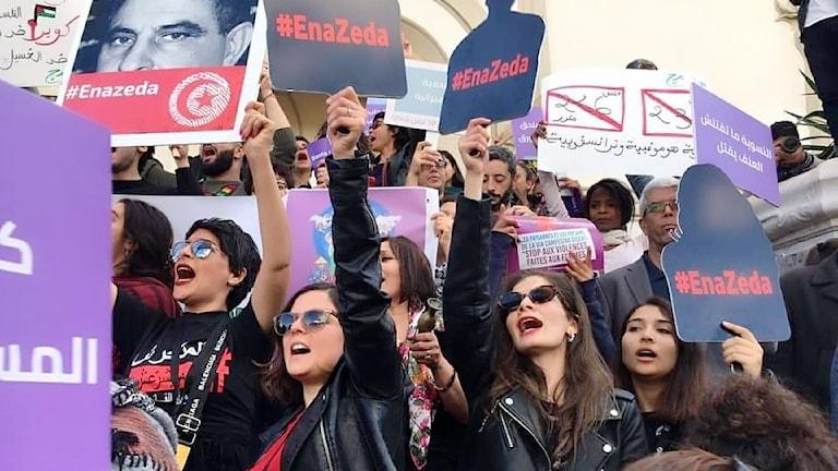 Kvinnodemonstration i Tunisien i helgen.