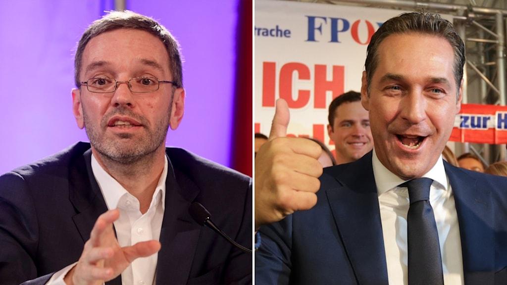 Österrikiska FPÖ-politikerna Herbert Kickl och Heinz-Christian Strache.