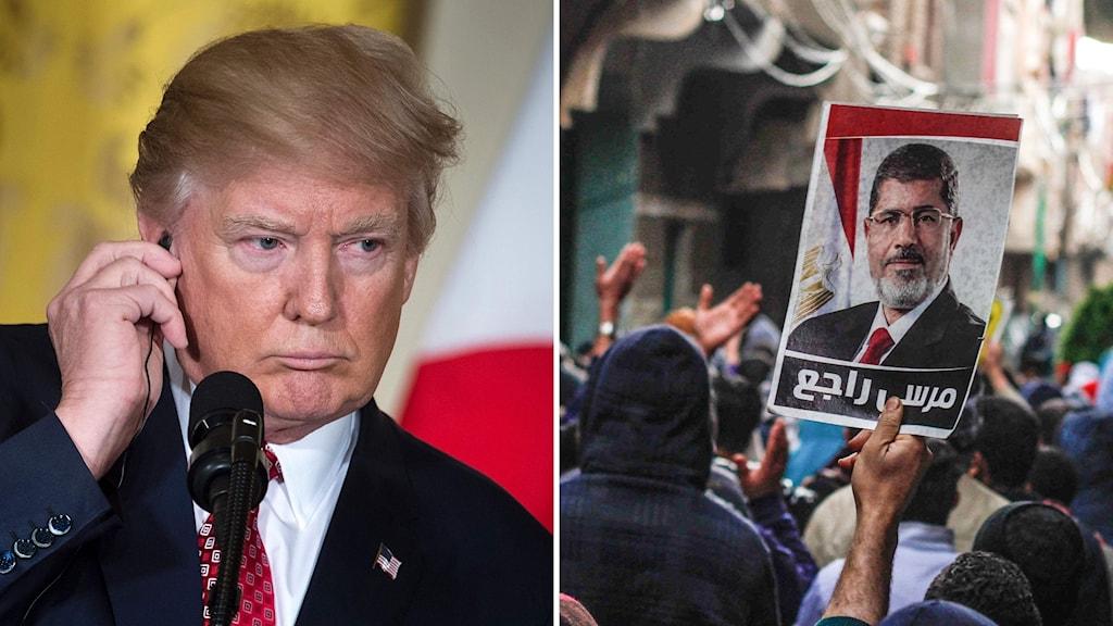 Bildkollage med Trump och en demonstration med Muslimska brödraskapet