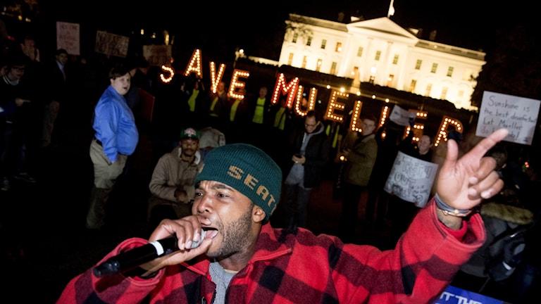 Protester utanför Vita huset.