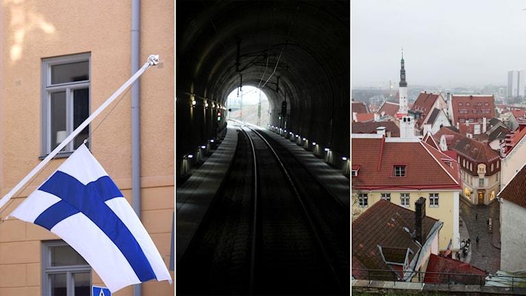 Finsk flagga, järnvägstunnel och bild på Tallinn