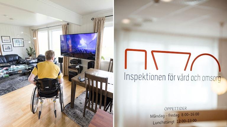 Rullstolsburen man i ett vardagsrum och en bild på Ivo