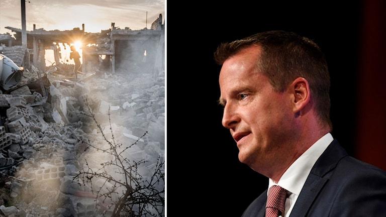 Delad bild: Ruiner i syriska Kobane samt inrikesminister Anders Ygeman.