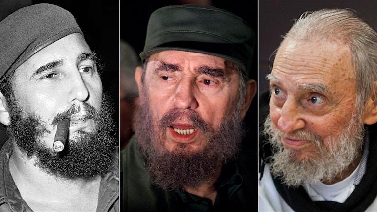 Ett kollage med tre bilder på Fidel Castro från 1961, 2000 och 2016.