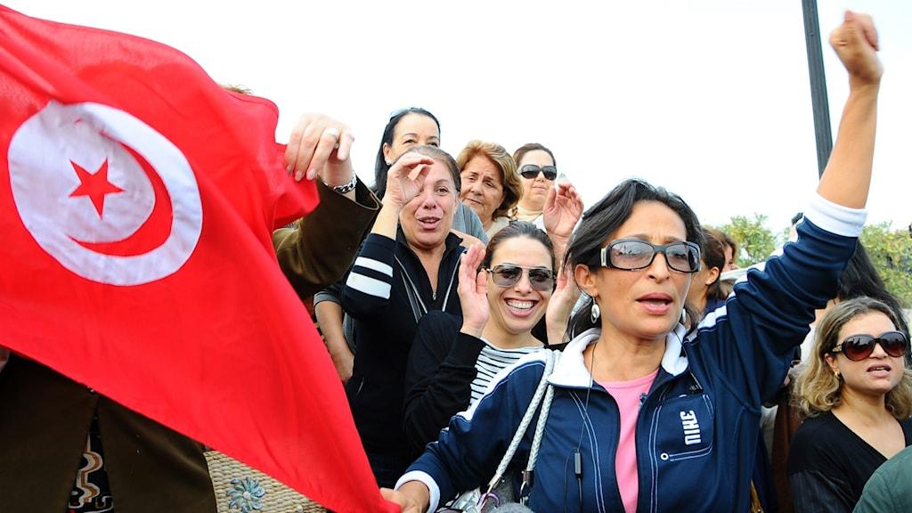 Arkivbild. Kvinnor demonstrerar för sina rättigheter i Tunisien