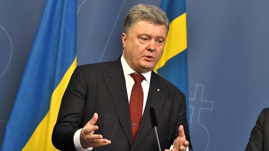 Ukrainas president Petro Porosjenko under en pressträff tillsammans med statsminister Stefan Löfven på Rosenbad i Stockholm på måndagen.