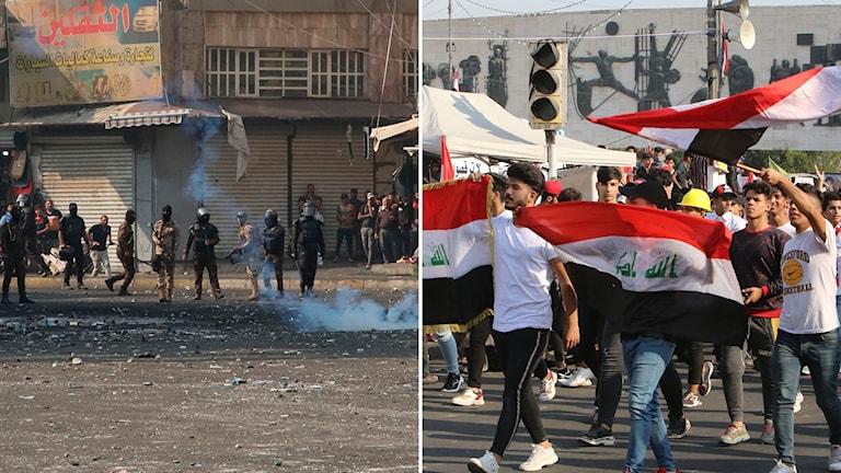 Iranska säkerhetsstyrkor skjuter tårgas mot demonstranter (t.v) och demonstranter tågar på Tahrirtorget i Bagdad (t.h).