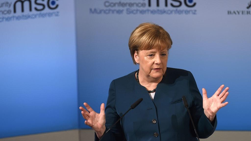 Tysklands förbundskansler Angela Merkel, säkerhetskonferens i München 2017