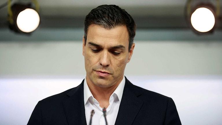 Pedro Sánchez tittar nedåt och ser bekymrad ut