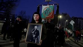 Högerextremister och nynazister demonstrerar med plakat i händerna