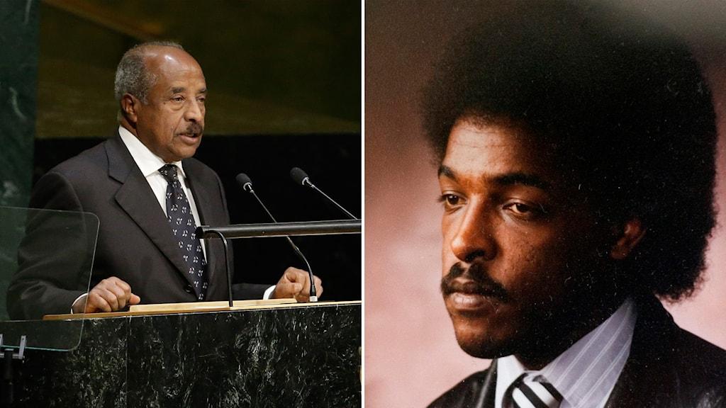 Eritreas utrikesminister Osman Saleh och den fängslade svenska journalisten Dawit Isaak.