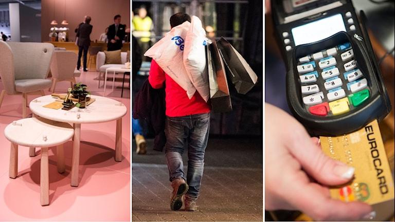 Tredelad bild: Möbler , en man bär flera shoppingkassar över axeln, en kortläsare - en person stoppar in ett Eurocard