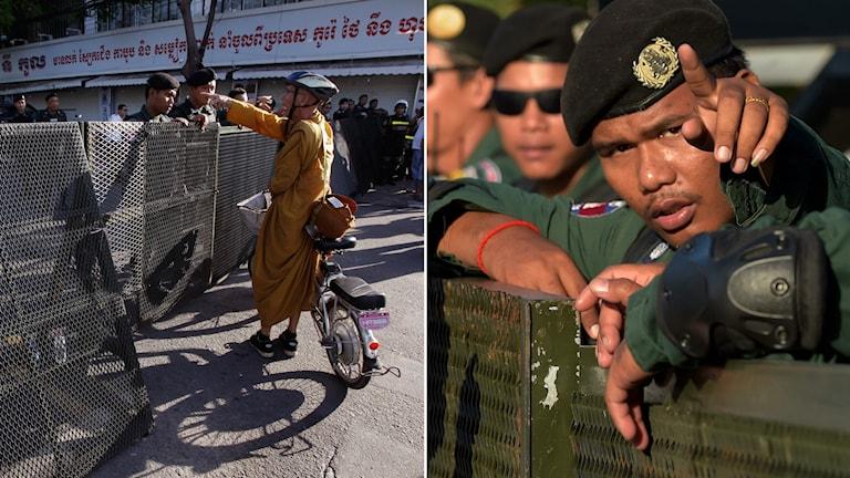Utanför domstolen har kravallpolis vaktat för att undvika eventuella protester.