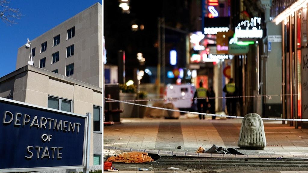 USA:s utrikesdepartment och drottninggatan efter terrordådet.