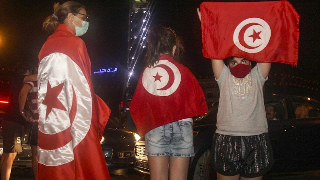 Protester i Tunisien