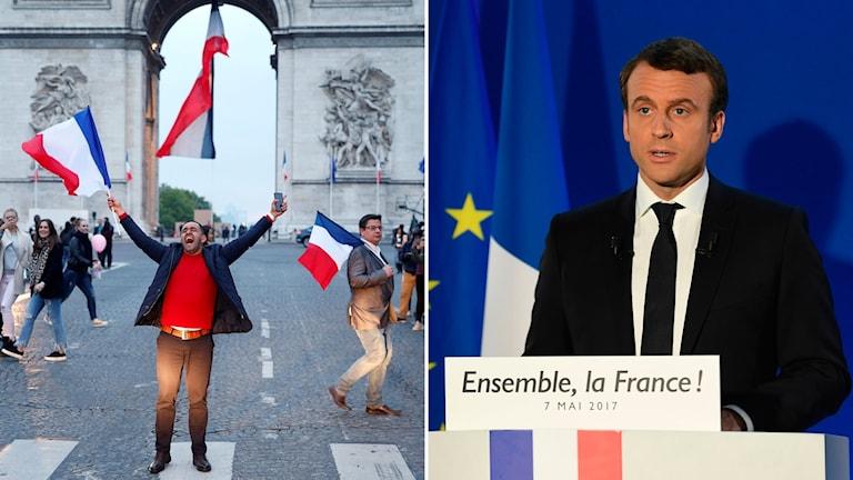 Qudbadii guusha ee uu Macron ka jeediyay Baariis.
