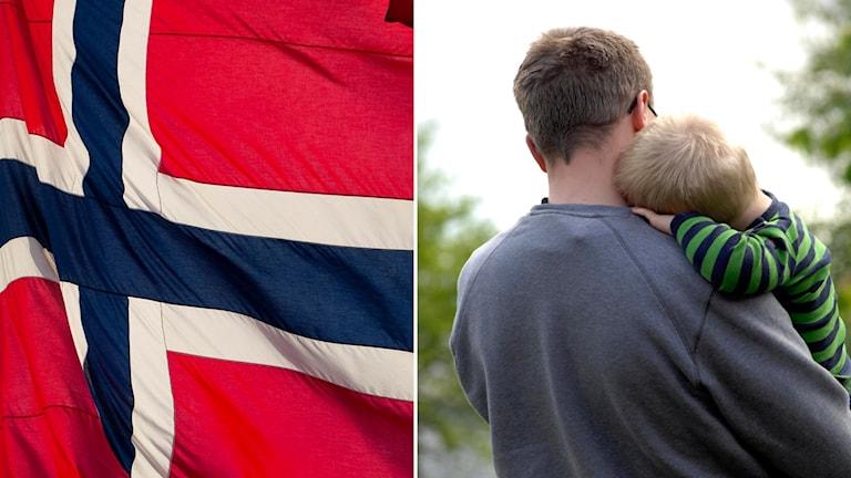 Norsk flagga och pappa med sitt barn