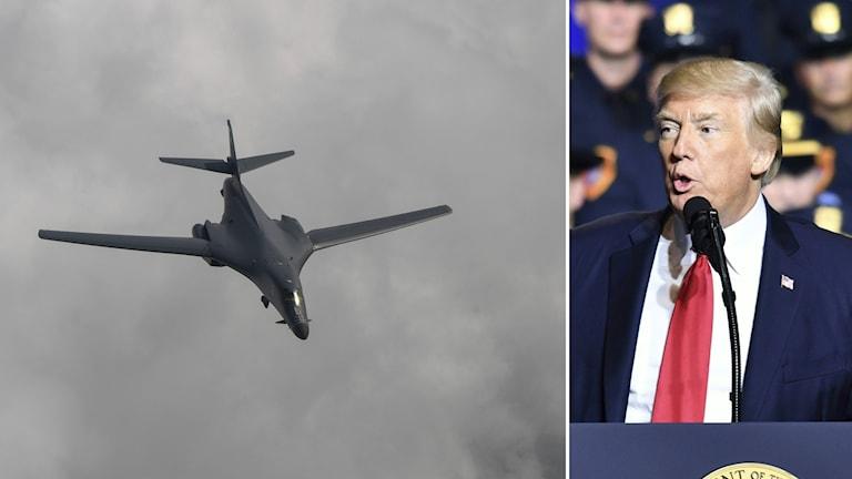 Bildkollage med ett flygplan som flyger över molnen och Donald Trump som håller ett tal.
