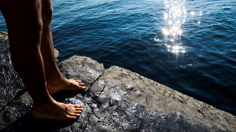 Ben på en klippa vid vattnet