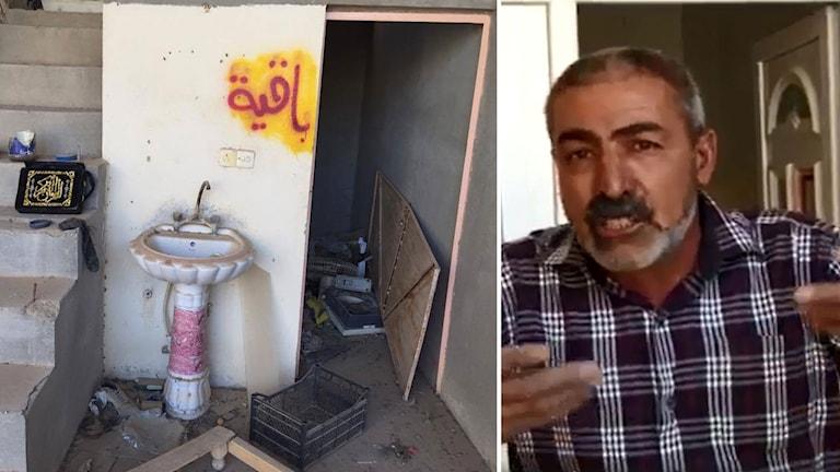 Bildmontage av Hassan och hans hem. Bilden visar klotter och bråte.
