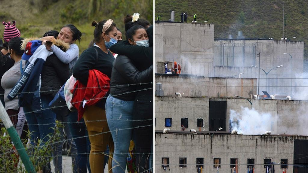 Bildsplit med rök från en grå byggnad och gråtande kvinnor