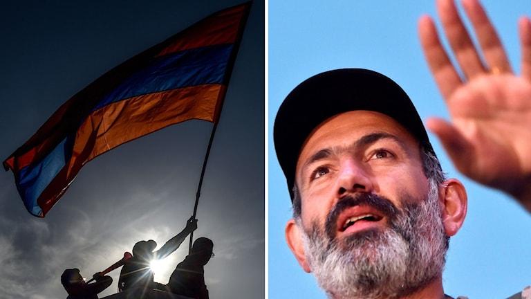 Demonstranter med den armeniska flaggan och Oppositionsledaren Nikol Pasjinian.
