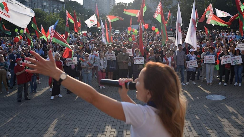 Fredagens demonstrationer i Minsk mot Lukasjenko.