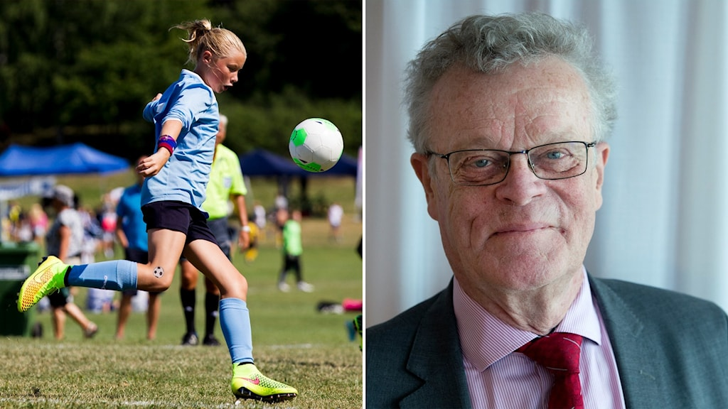 Tvådelad bild med liten flcika med ljust hår som spelar fotboll till vänster och glad äldre man med glasögon och grått hår till höger.