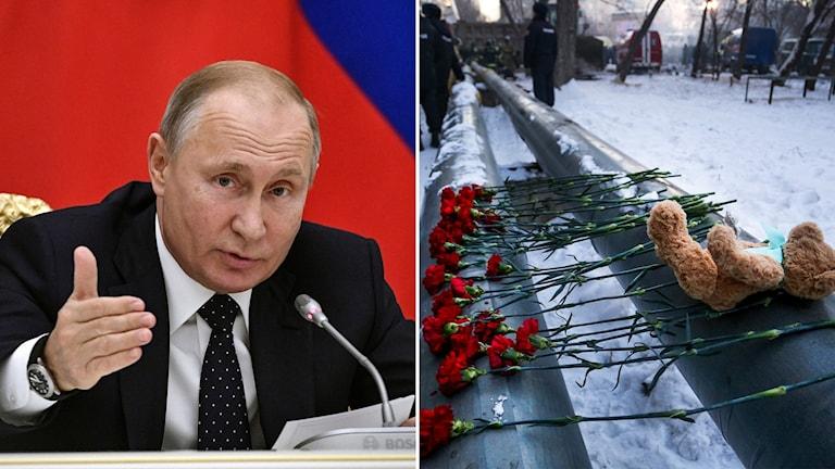 Putin på plats vid husraset