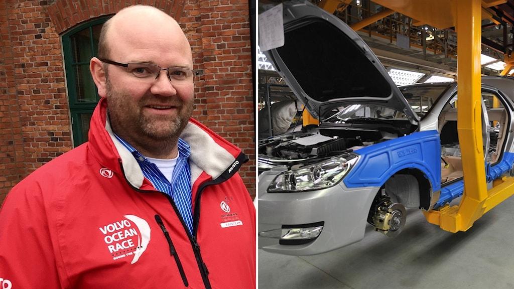 Klas lundgren vd för T-engineering och bil som monteras.