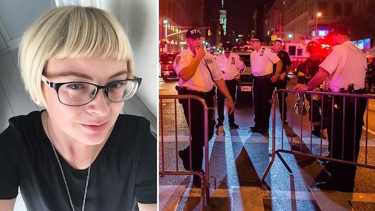 Bildmontage av vittnet Hannah-Sophia och poliser vid avspärrningar efter explosionen i New York.