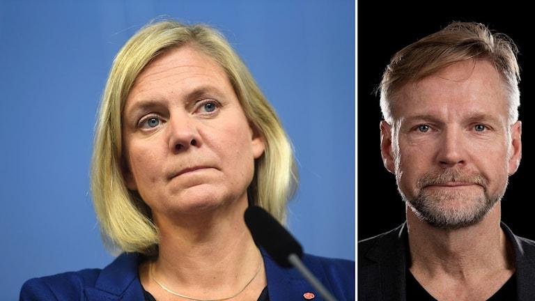 Magdalena Andersson och Sveriges Radios Tomas Ramberg