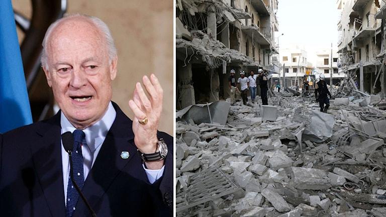 Montage av FN-sändebudet Staffan de Mistura och den bombade staden Aleppo.