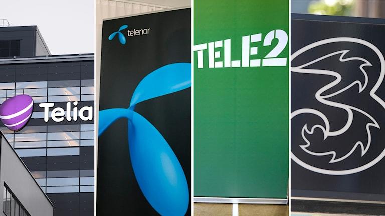 Telia, telenor, tele2 och Tre. Svenska mobiloperatörer