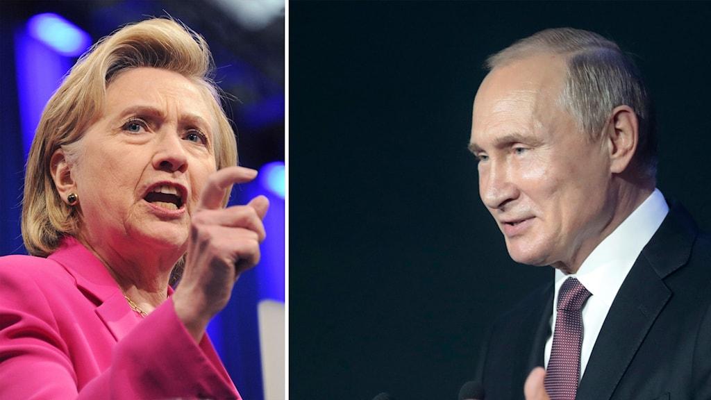 Delad bild: Hillary Clinton och Vladimir Putin.