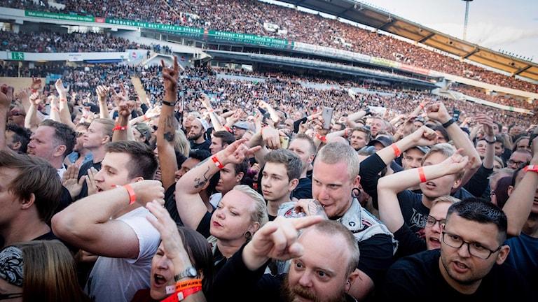 Publikhav under Metallicas konserten på Ullevi.