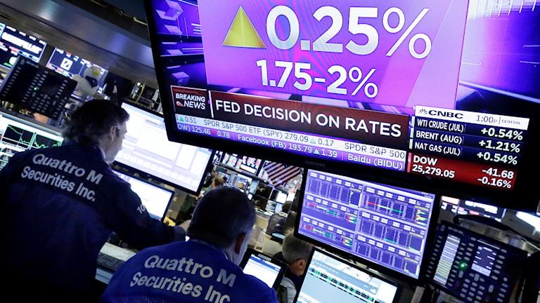 USA:s centralbank höjer styrräntan.