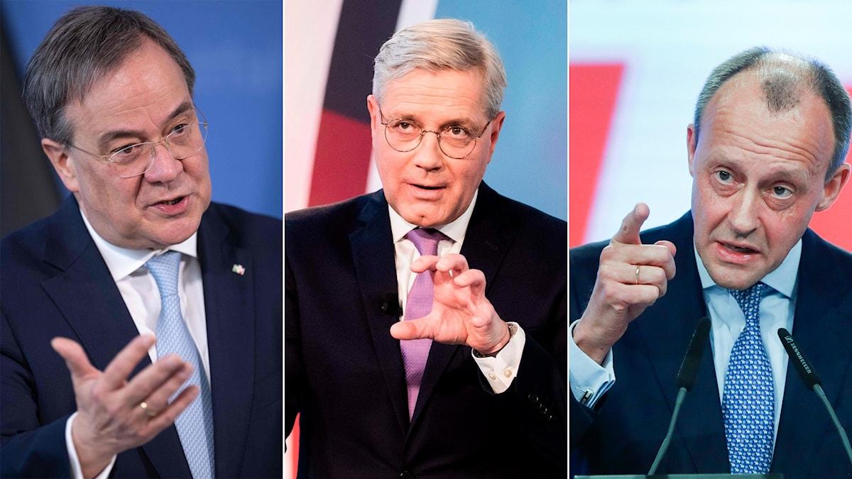 de tre kandidaterna som vill leda CDU. Tre män i kostym och slips