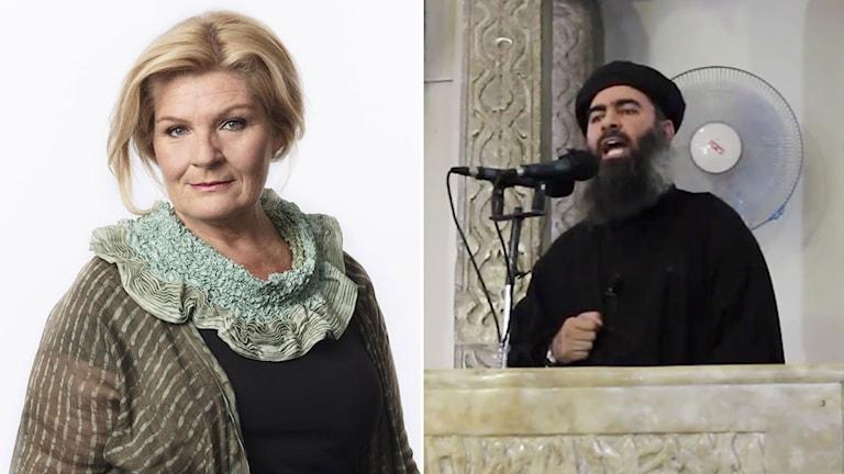 Vår Mellanösternkorrespondent Cecilia Uddén och bild på Abu Bakr al-Baghdadi