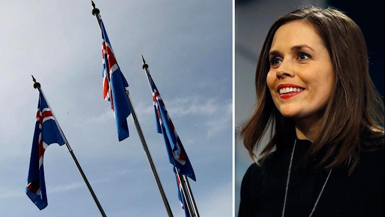 En delad bild. Först isländska flaggor, sedan en bild på Islands nye statsminister Katrín Jakobsdóttir.