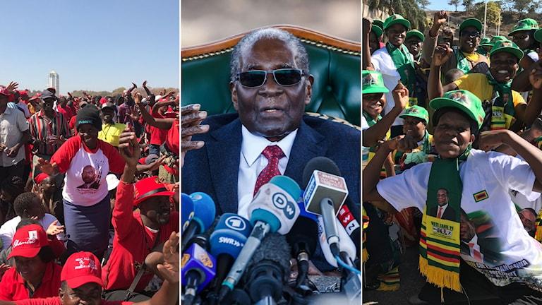 Anhängare under valmöte. I mitten: Robert Mugabe. Till höger: Fler anhängare under ett valmöte.