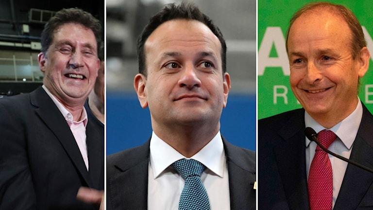 Det miljöinriktade Gröna partiets ledare Eamon Ryan,, premiärminister Leo Varadkar och Fianna Fails partiledare Micheal Martin.
