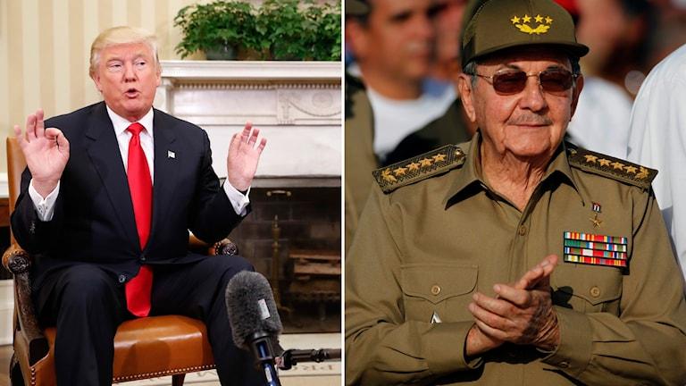Donald Trump och Kubas president Raul Castro Foto: TT