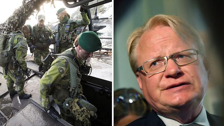 Soldater och försvarsministern.