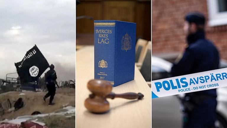 Tredelad bild: Man med IS-flagga, lagbok och domarklubba i en rättssal, polis vid ett avspärrningsband.